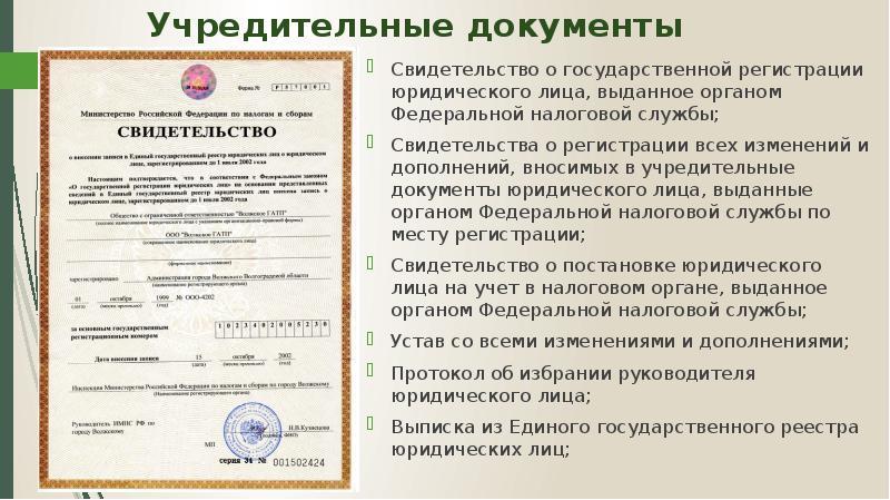 Учредительные документы ооо